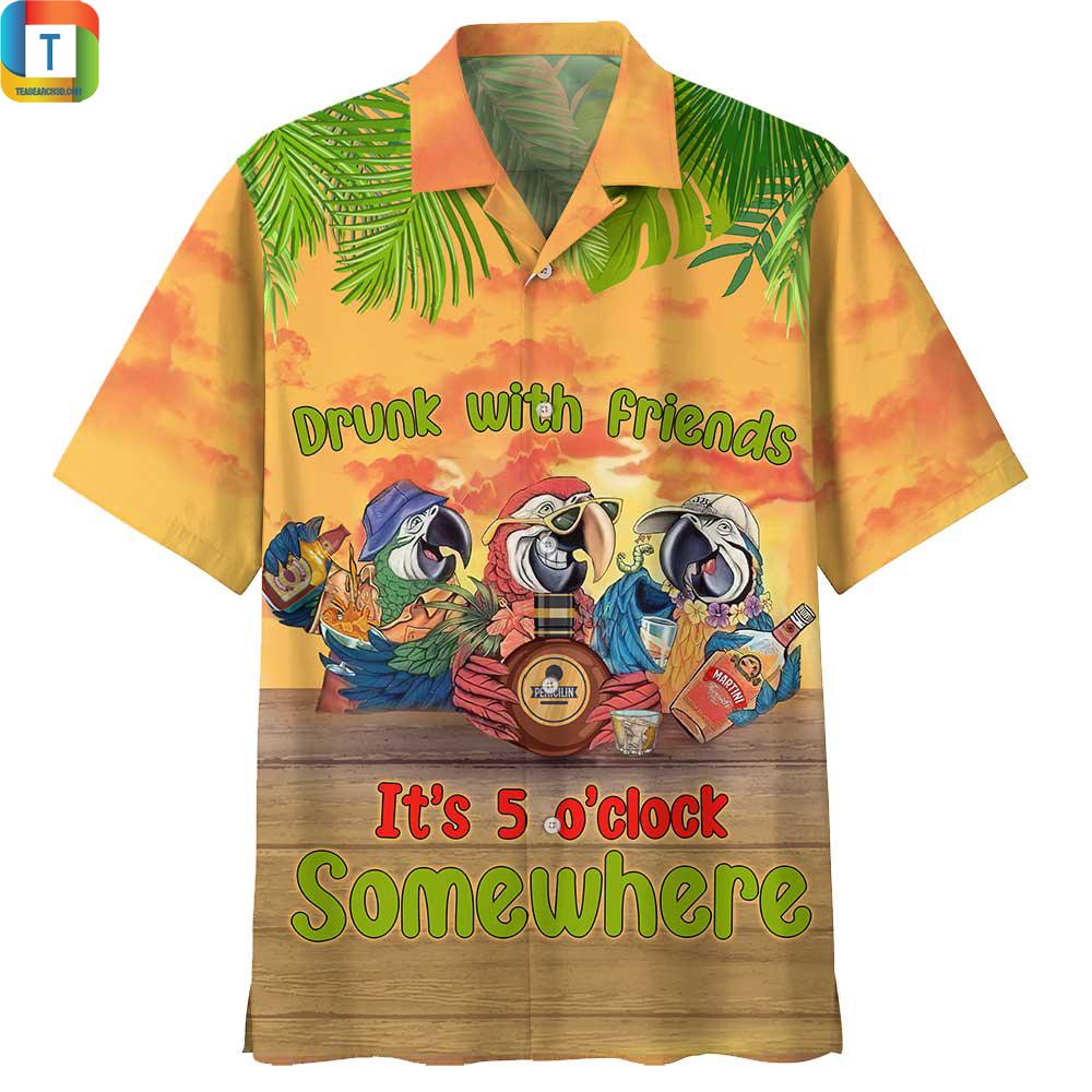 Parrot Drunk with Friend It's 5 O'clock Somewhere Hawaiian Shirt
