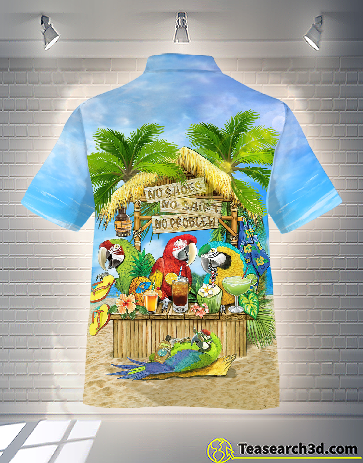 Parrot No Shoes No Shirt No Problem Hawaiian Shirt 1