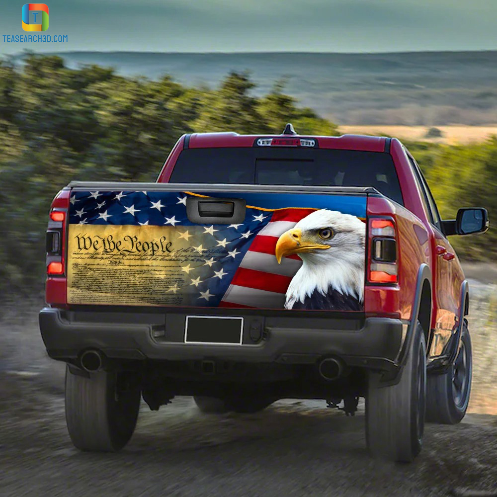 Patriotic eagle truck tailgate decal sticker 2