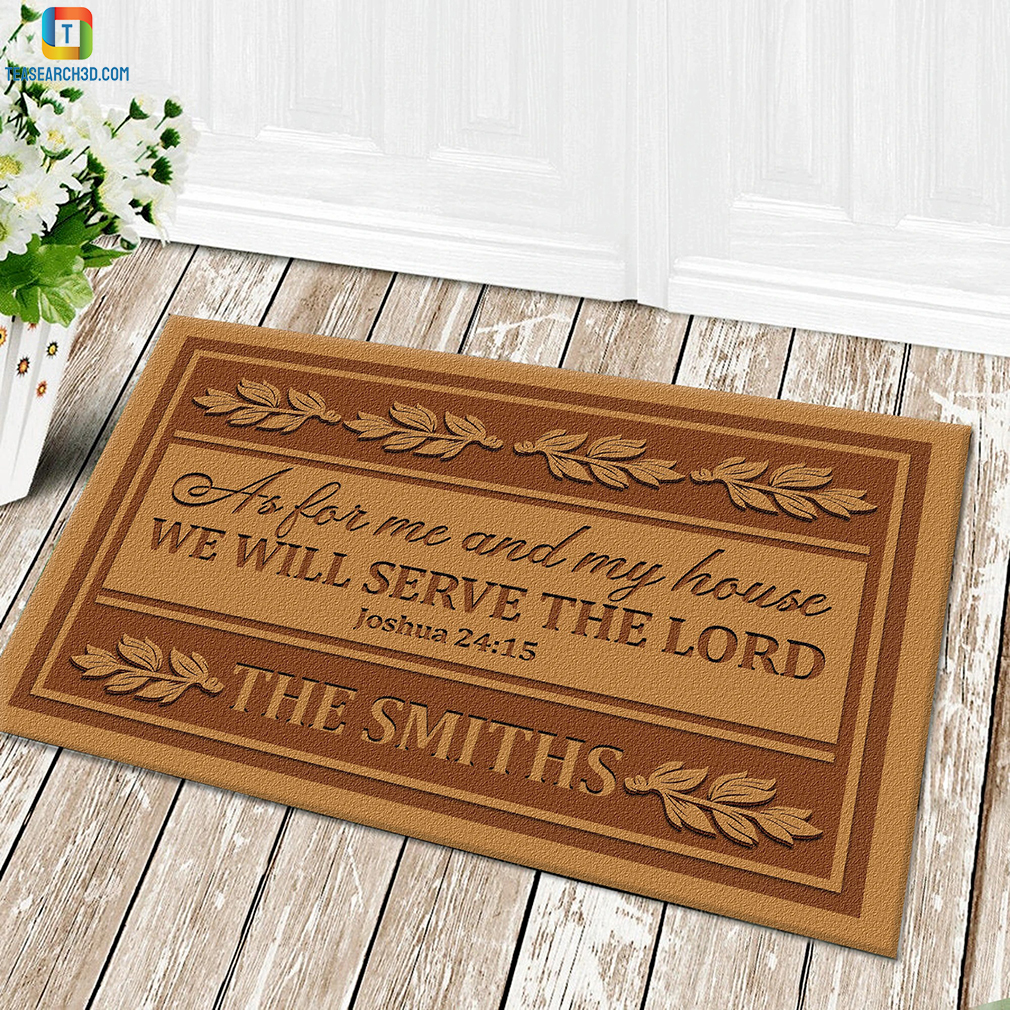 Personalized custom name as for me and my house we will serve the lord doormat 1