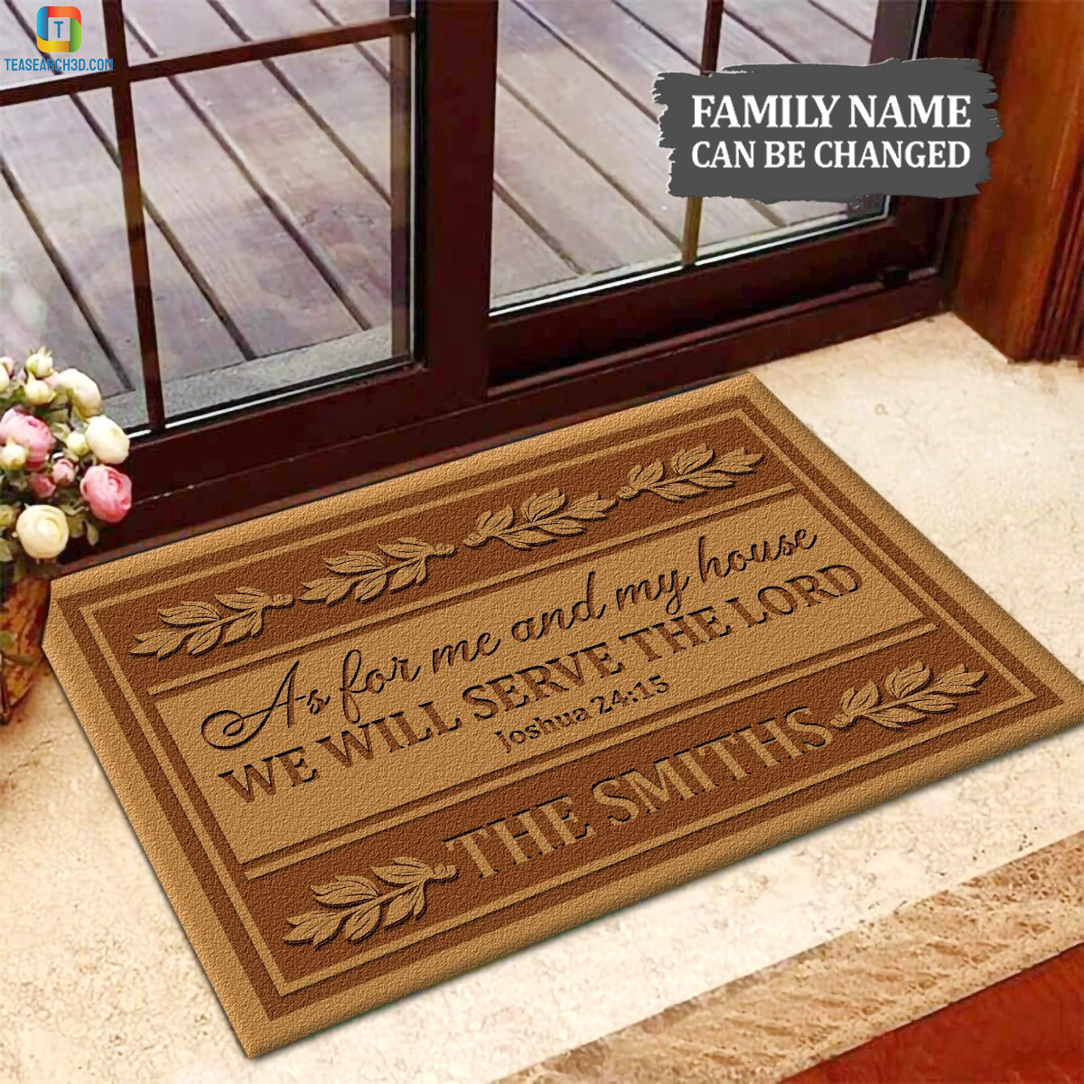 Personalized custom name as for me and my house we will serve the lord doormat