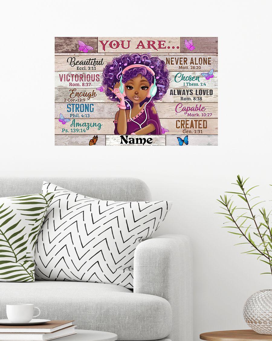 Personalized custom name black girl music headphone you are beautiful black teenage poster
