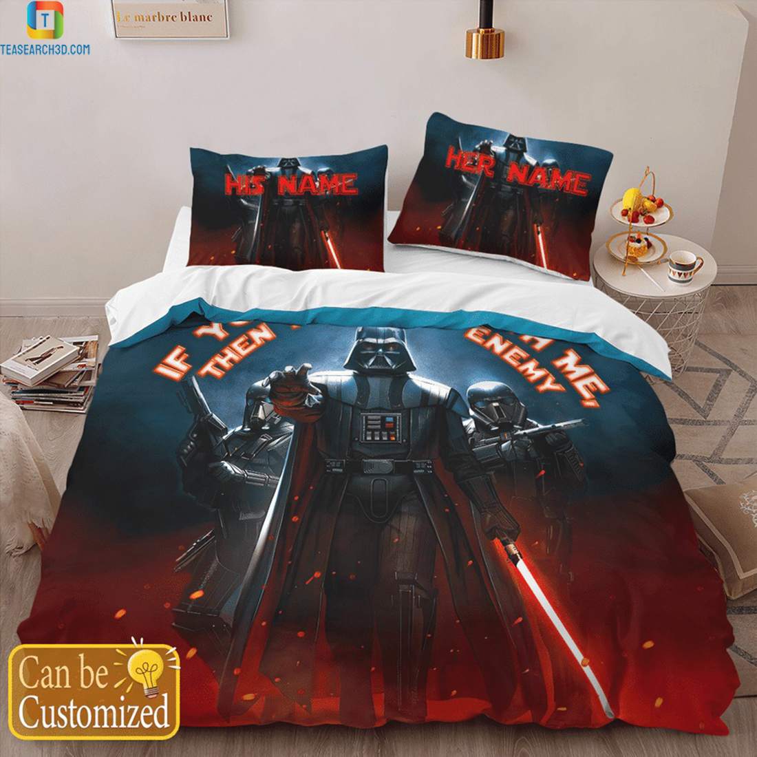 Personalized custom name star wars darth vader if you're not with me bedding set 2