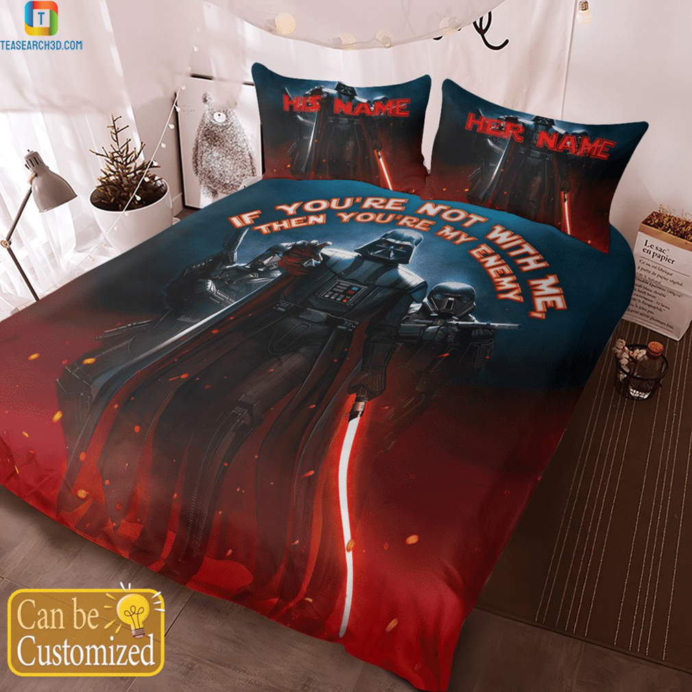 Personalized custom name star wars darth vader if you're not with me bedding set 3