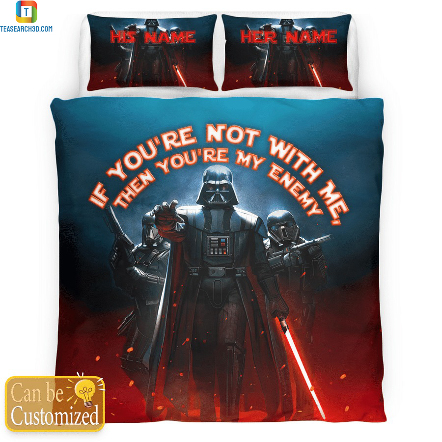 Personalized custom name star wars darth vader if you're not with me bedding set