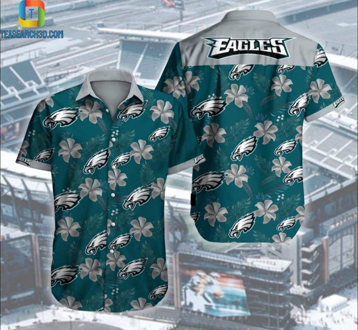 Philadelphia eagles hibiscus nfl football hawaiian shirt 2