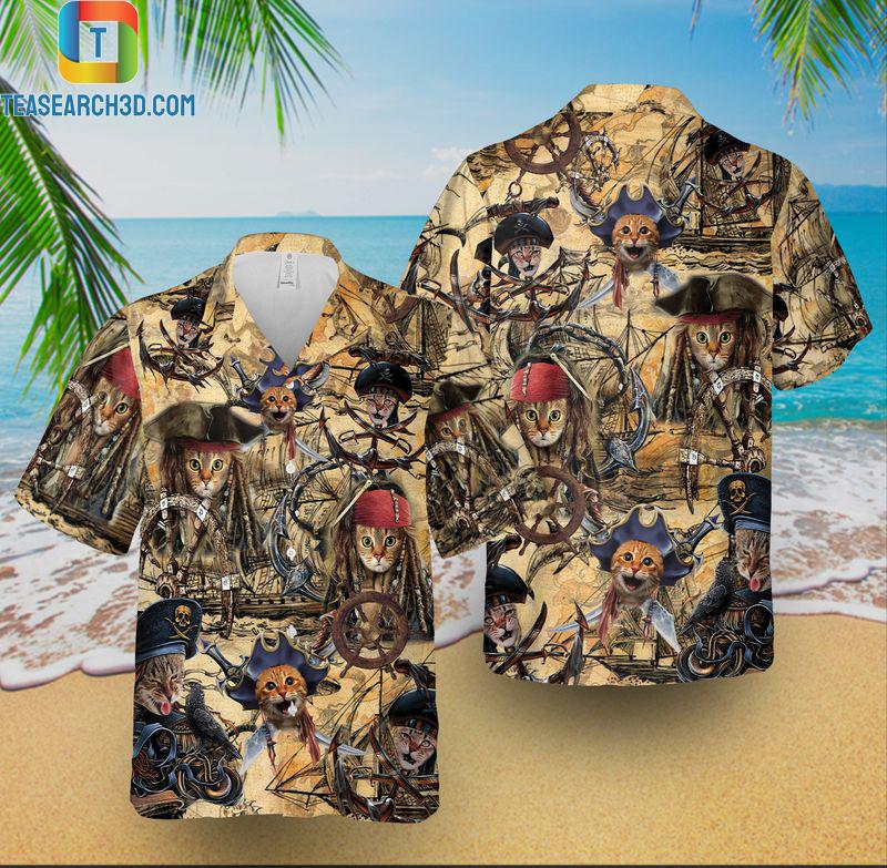 Pirate cat short-sleeve hawaiian shirt