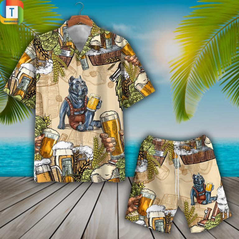 Pitbull And Beer Hawaiian Shirt Beach Short 1