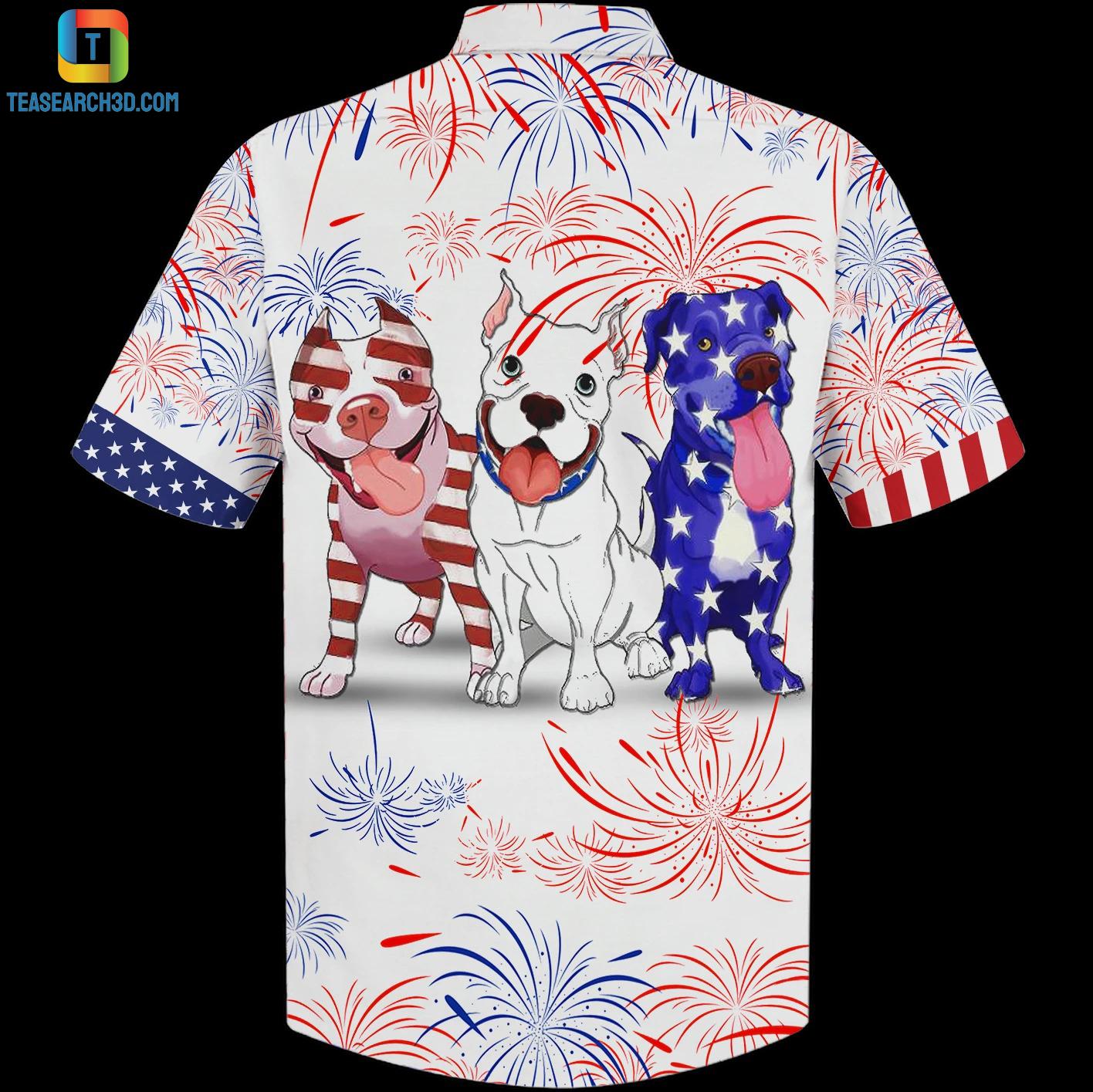 Pitbull american flag firework hawaiian shirt 1