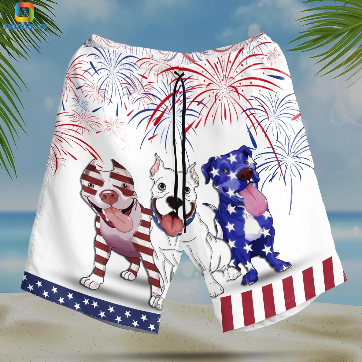 Pitbull american flag firework hawaiian short