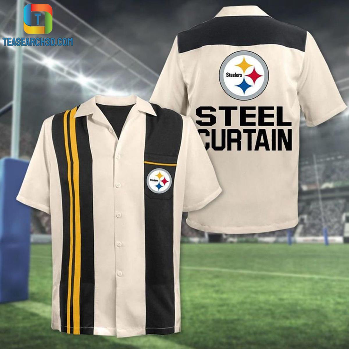 Pittsburgh steelers curtain nfl football hawaiian shirt 2
