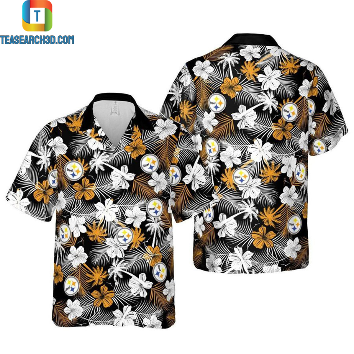 Pittsburgh steelers floral nfl football hawaiian shirt 2