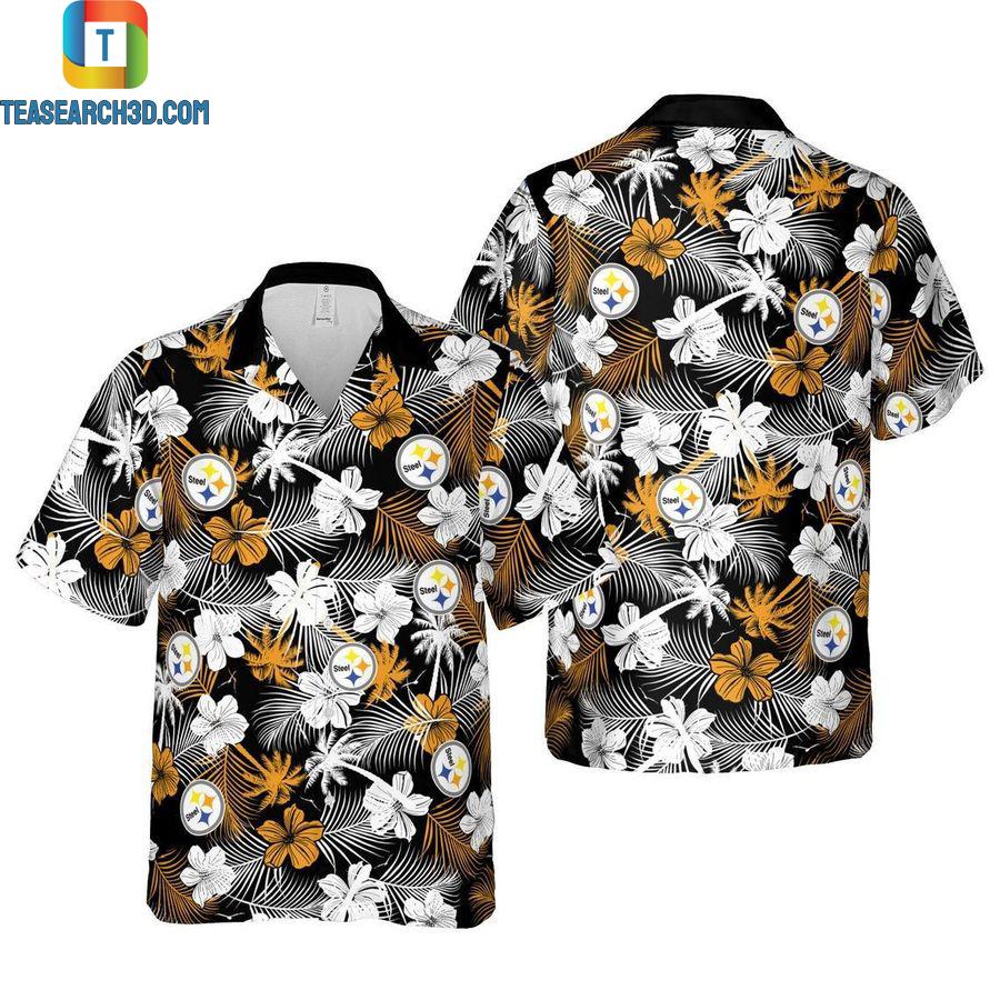 Pittsburgh steelers floral nfl football hawaiian shirt