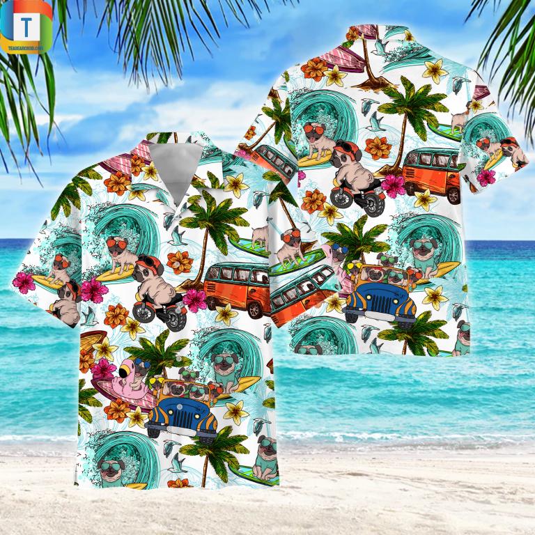 Pug Hawaiian Shirt Beach Short