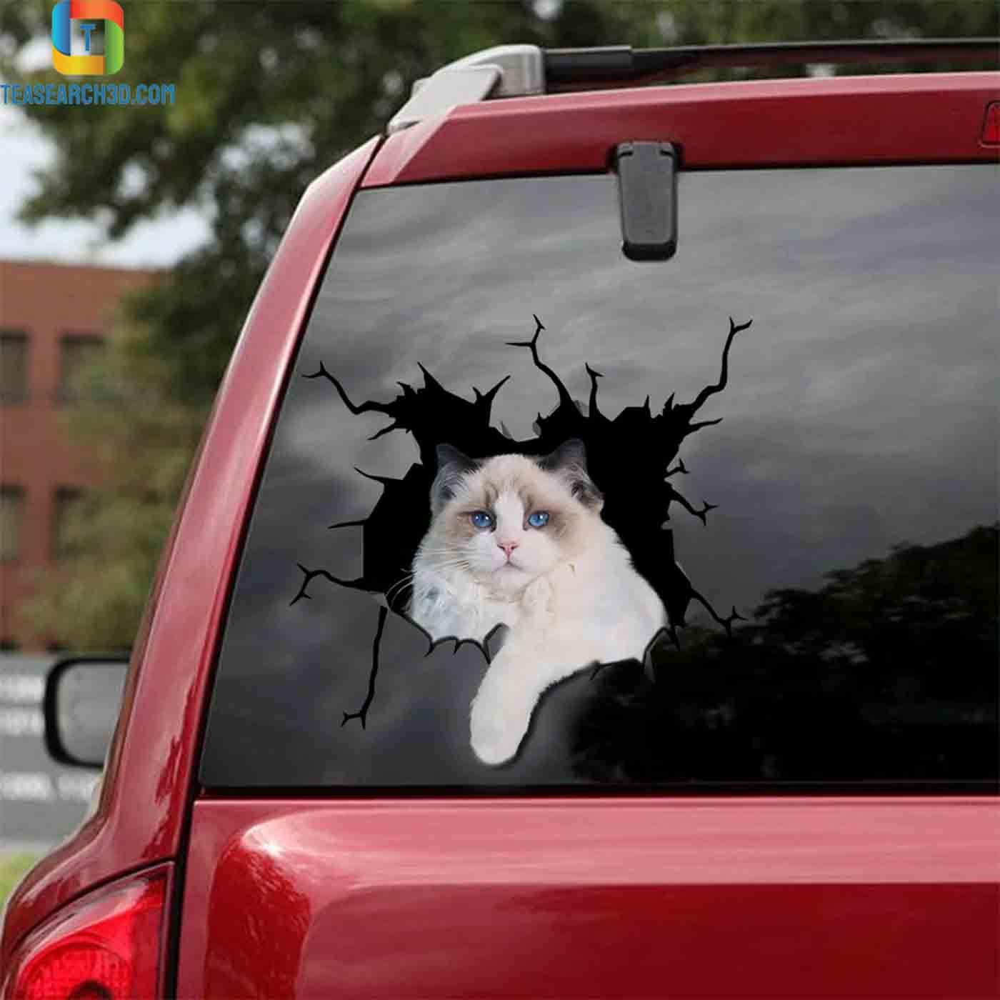 Ragdoll cat crack car decal sticker 2