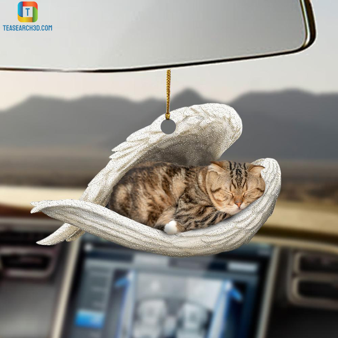 Scottish Fold sleeping angel car hanging ornament 2