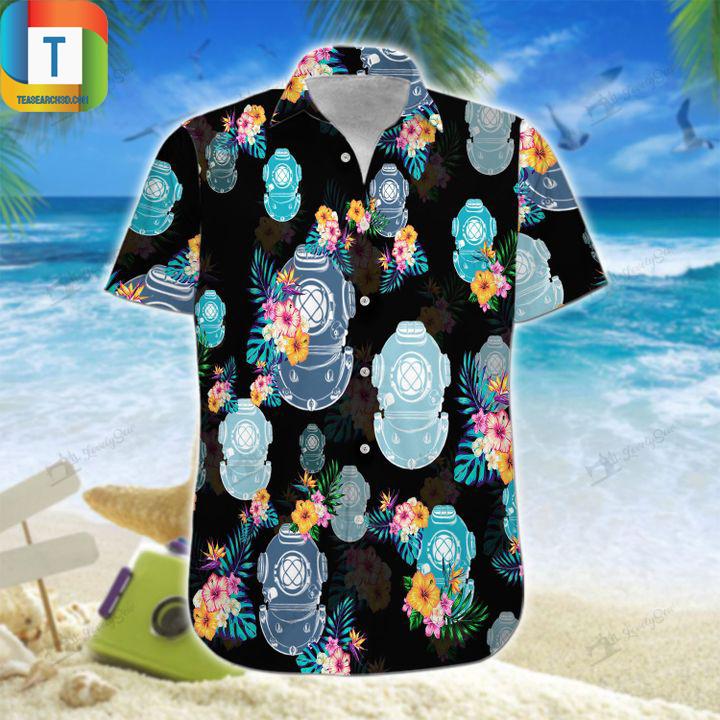 Scuba diving helmet hawaiian shirt