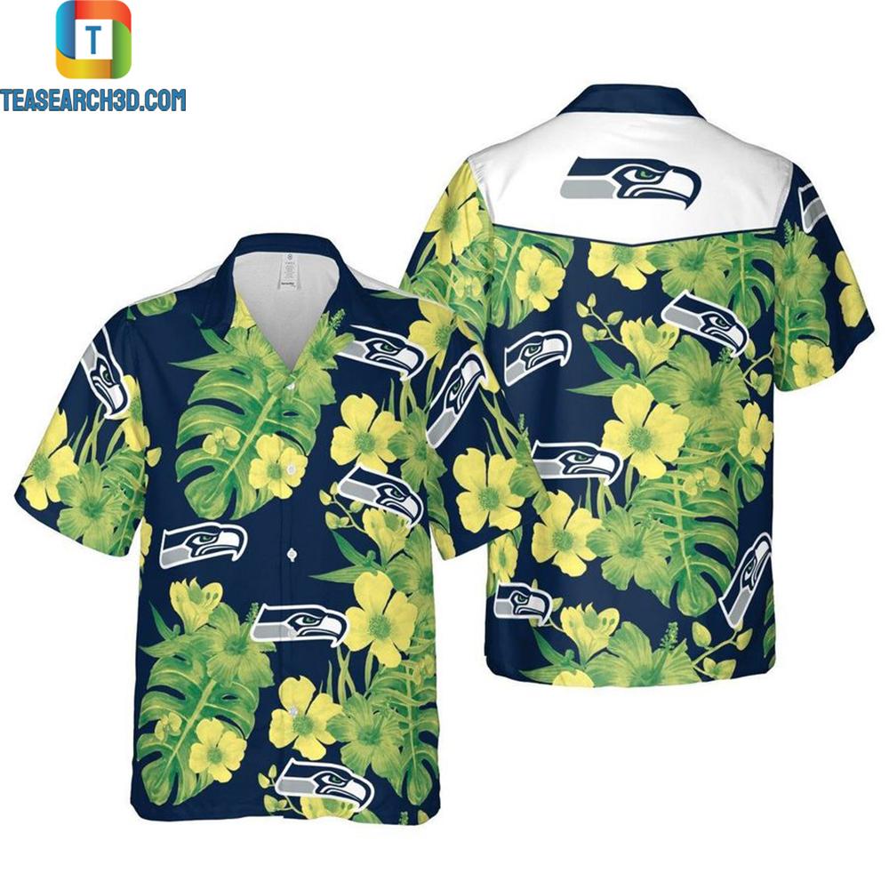 Seattle seahawks floral nfl football hawaiian shirt 2