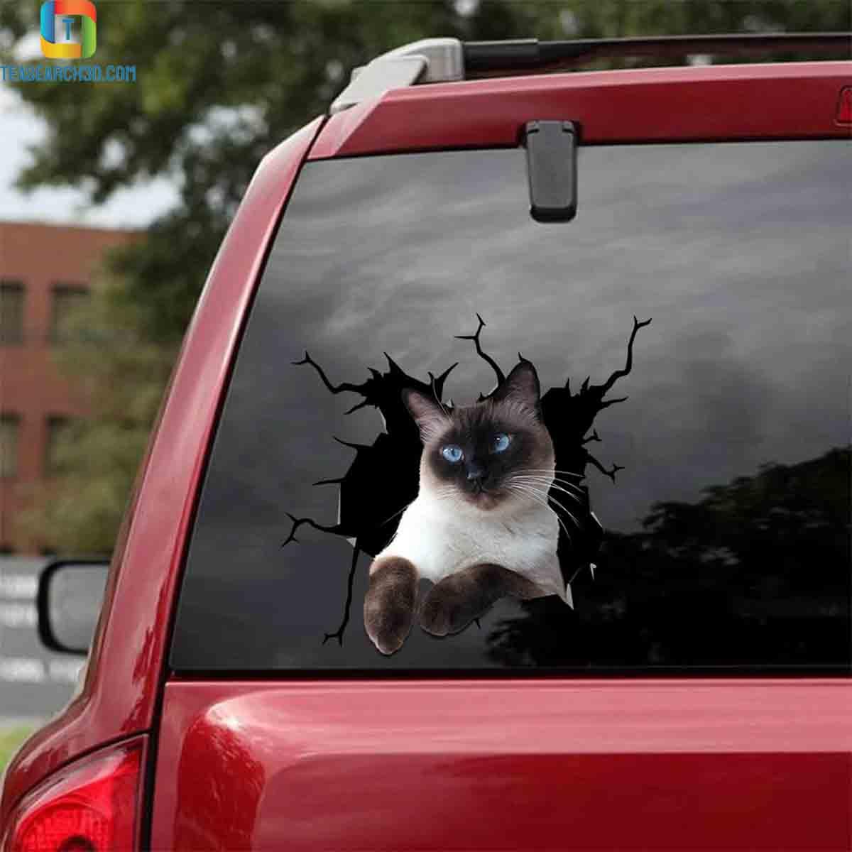 Siamese cat crack car decal sticker 1