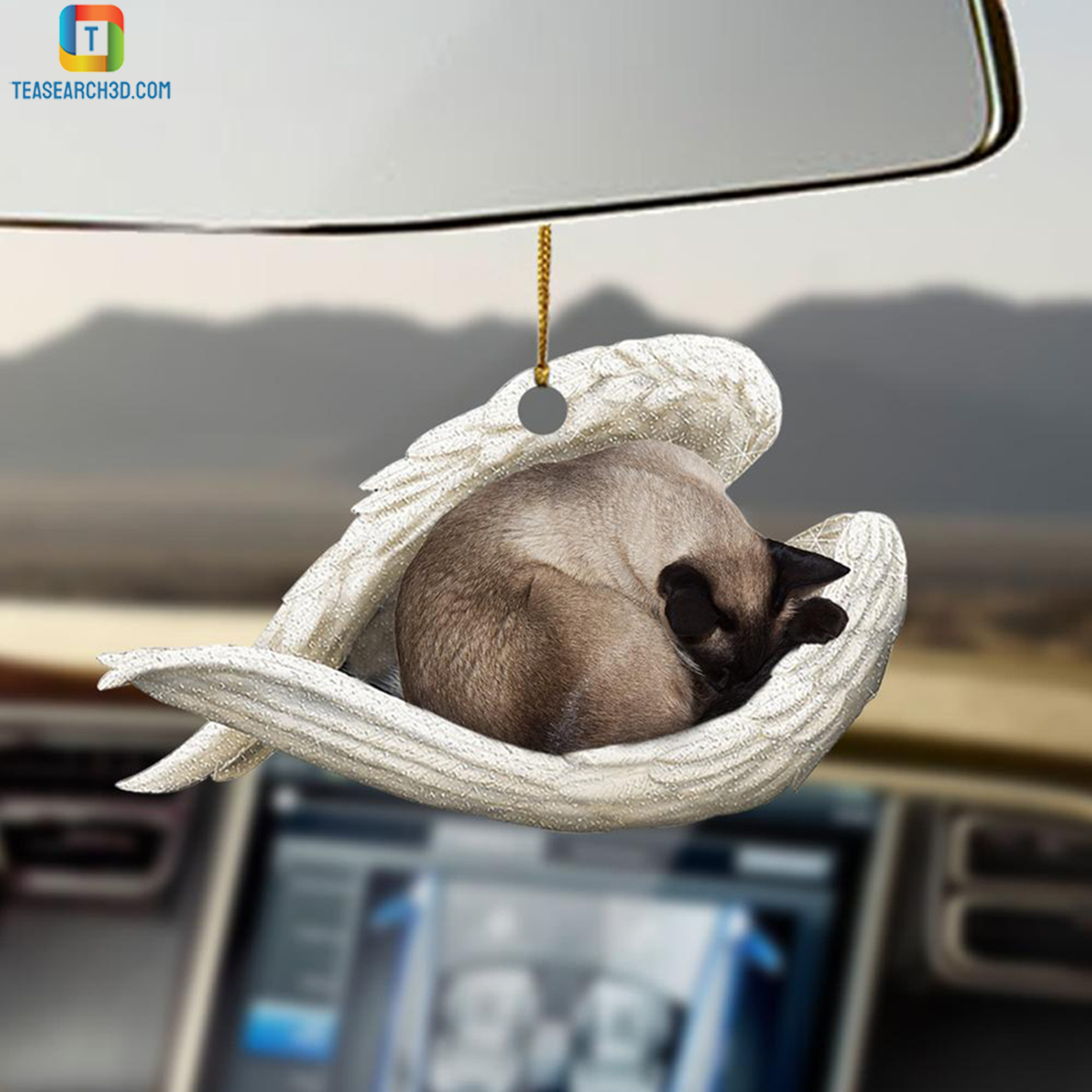 Siamese cat sleeping angel car hanging ornament 2