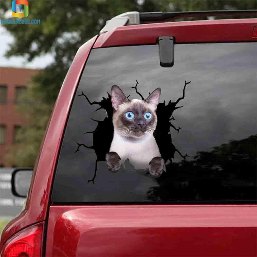 Siamese crack car sticker cats lover