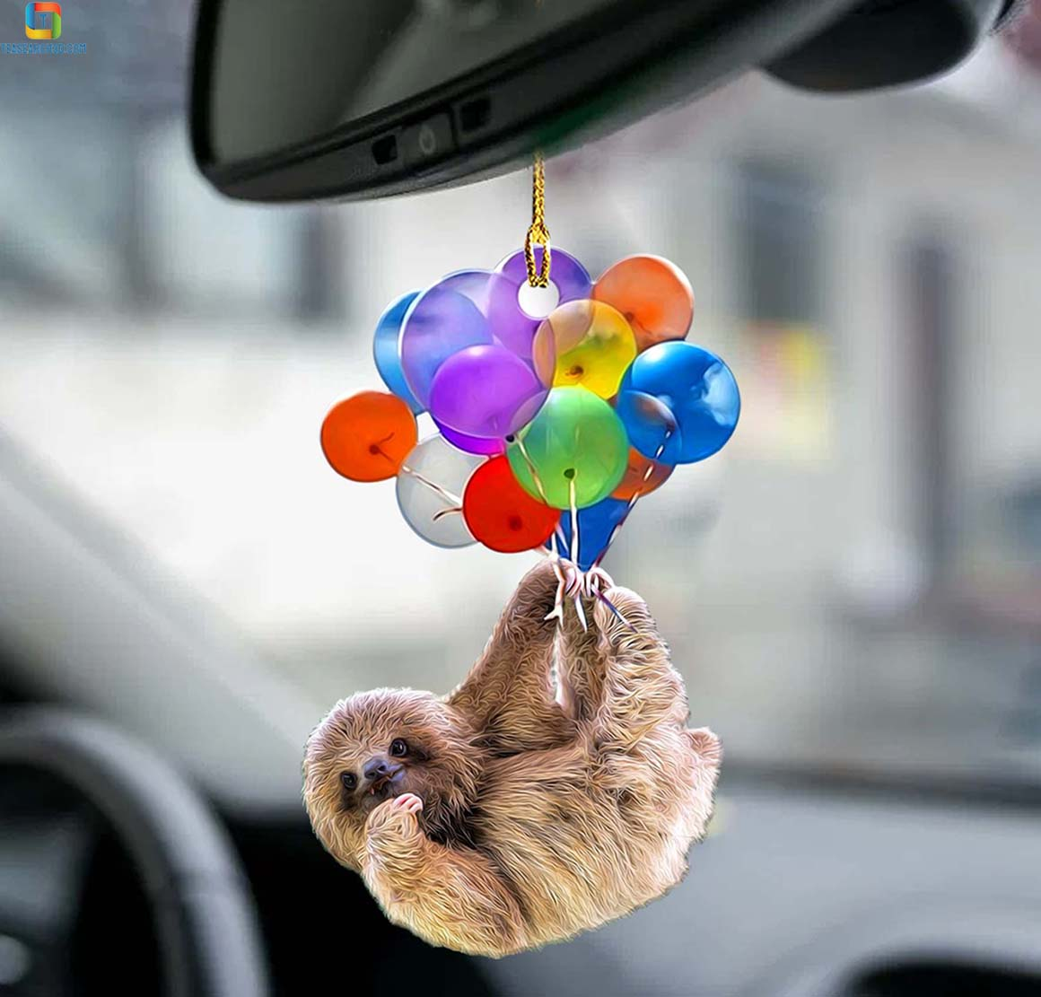 Sloth fly with bubbles car hanging ornament 1