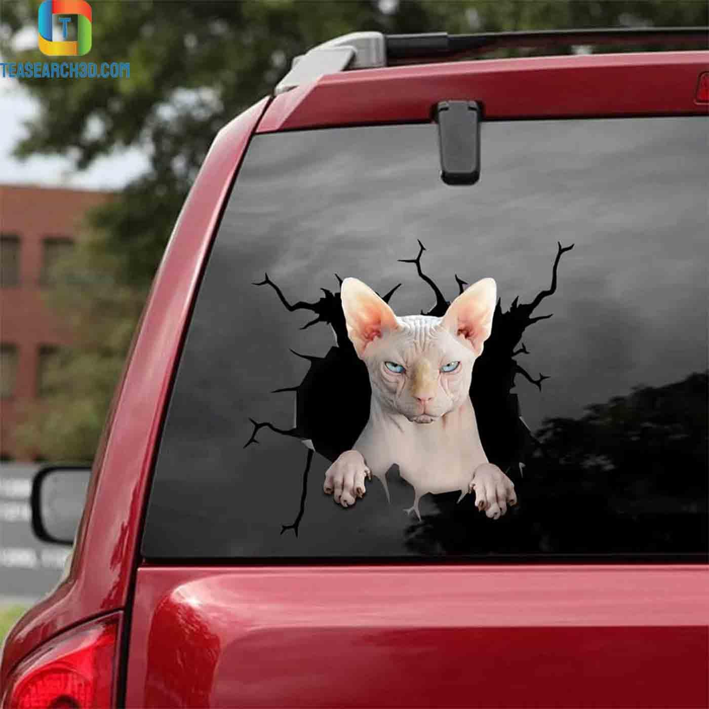 Sphynx cat car decal sticker 2