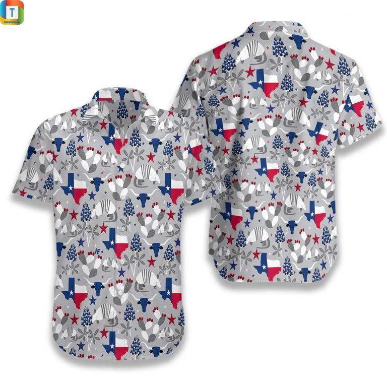 Texas Pattern Hawaiian Shirt Beach Short