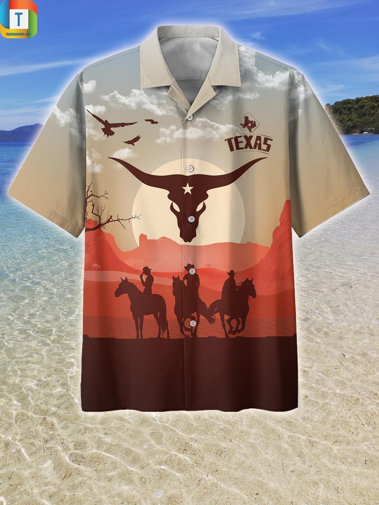 Texas sunset horse riding hawaiian shirt