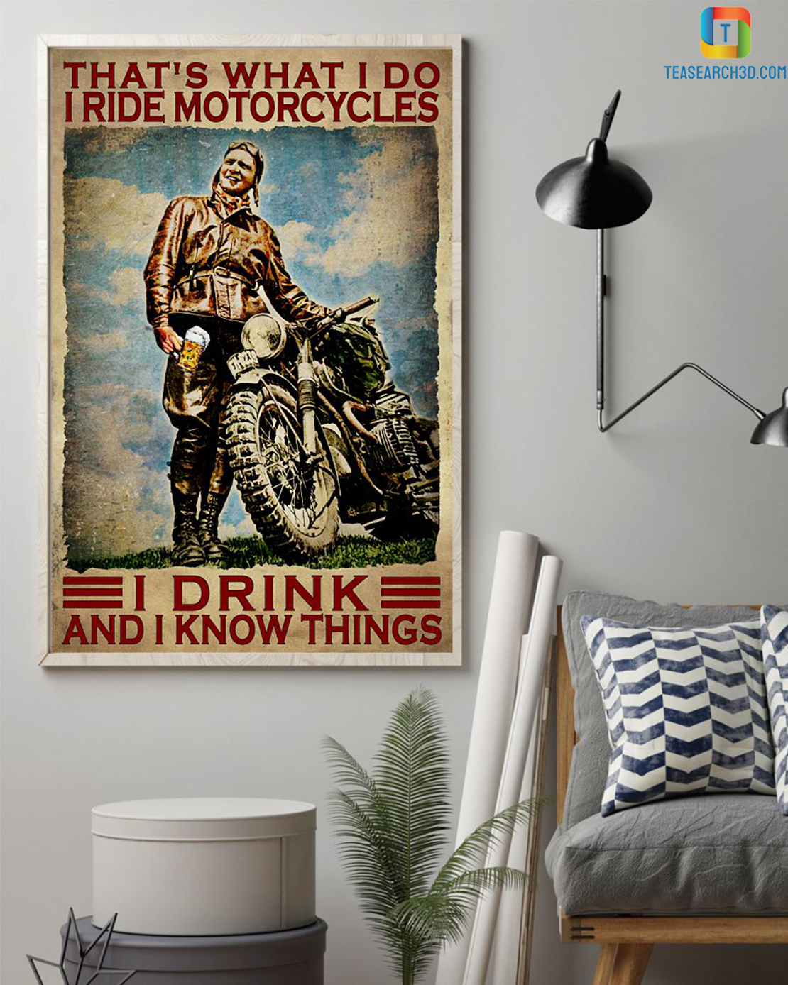 That's what I do I ride motorcycles I drink and I know things canvas