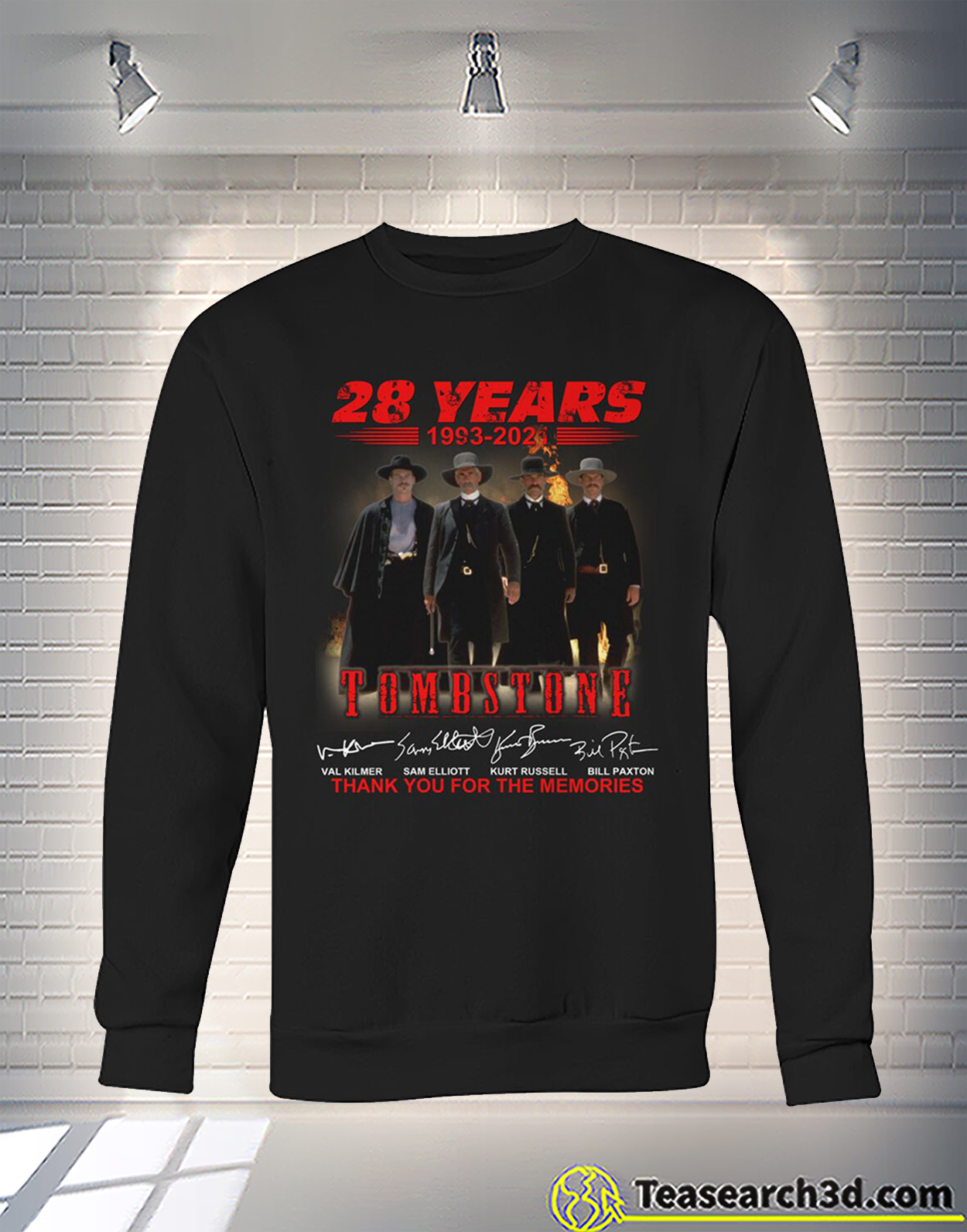 Tombstone 28 years thank you for the memories signature sweatshirt