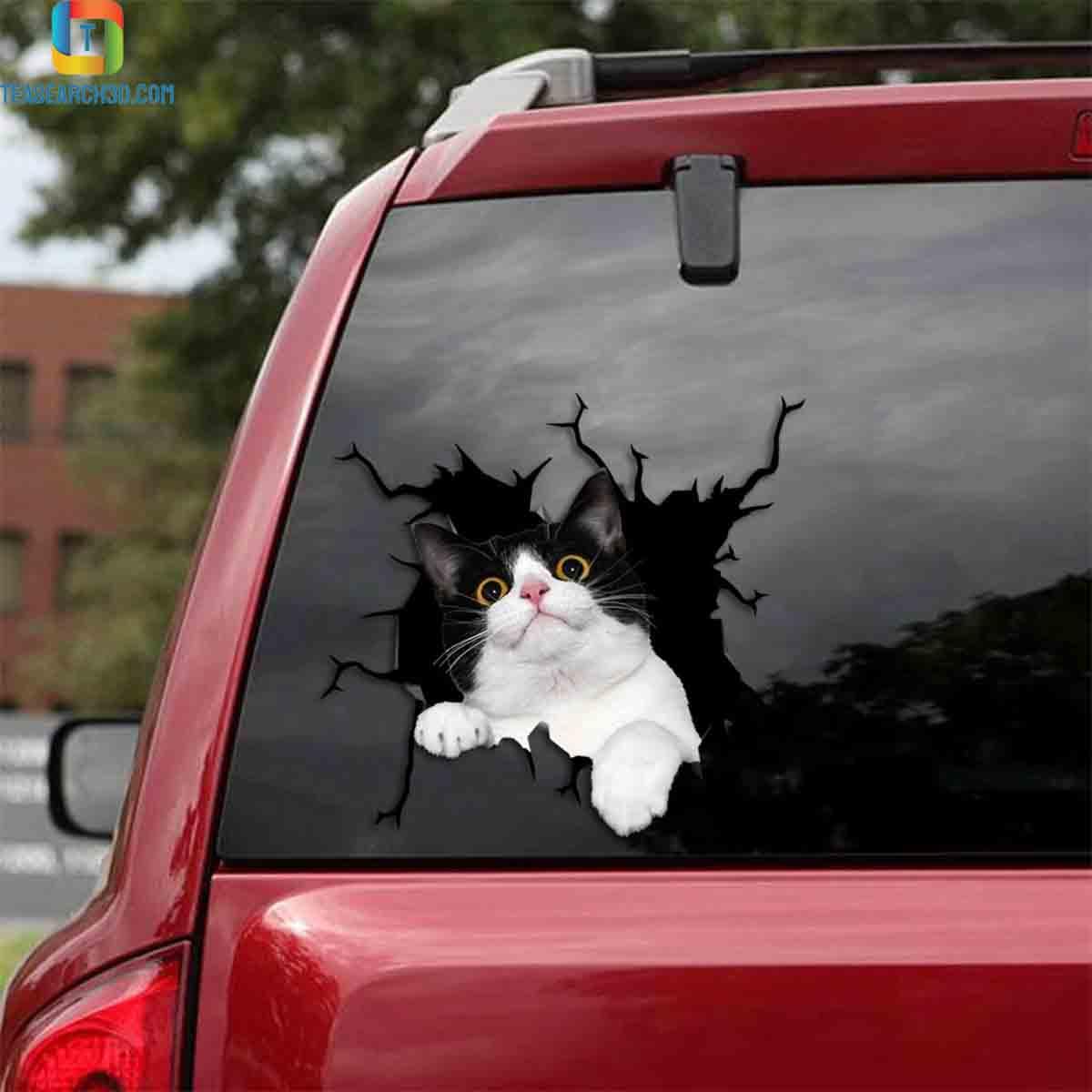 Tuxedo cat crack car decal sticker 1