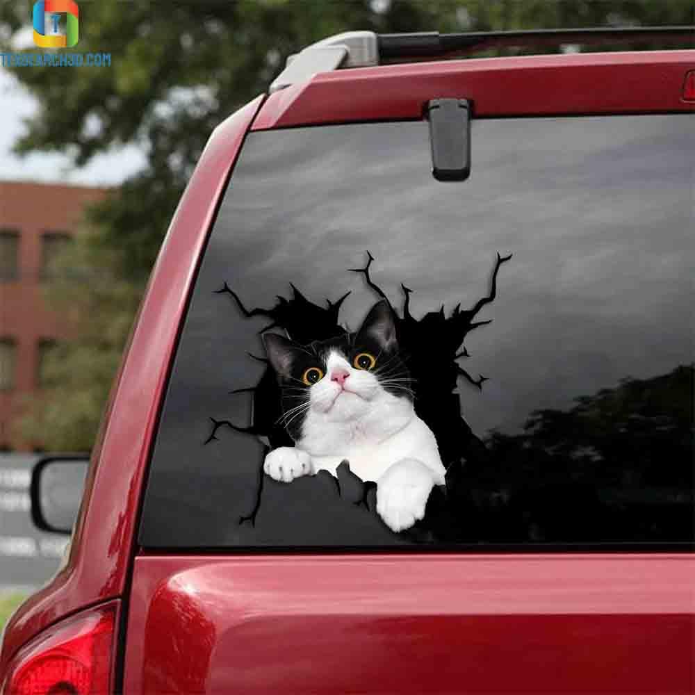 Tuxedo cat crack car decal sticker
