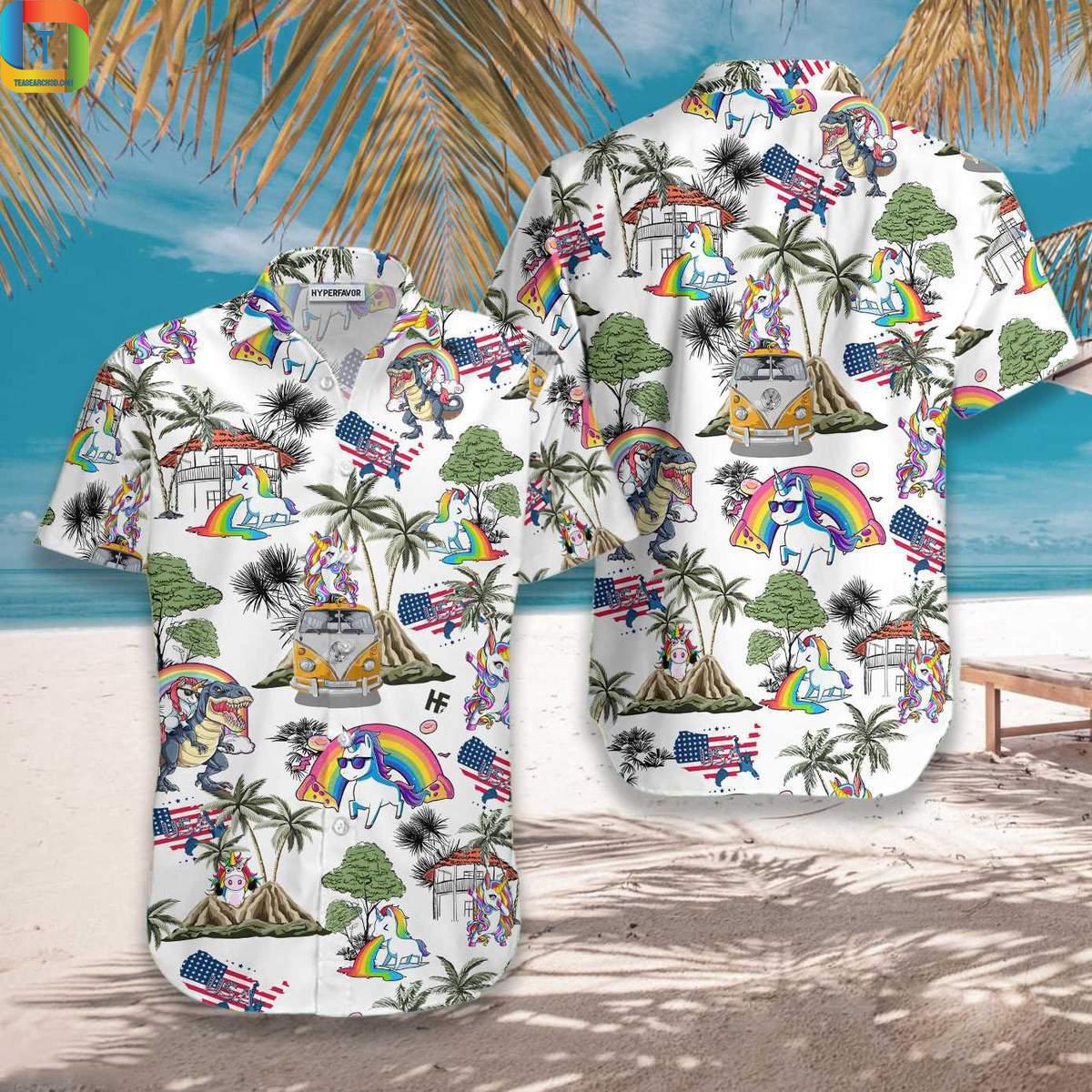 Unicorn Pattern Hawaiian Shirt 1