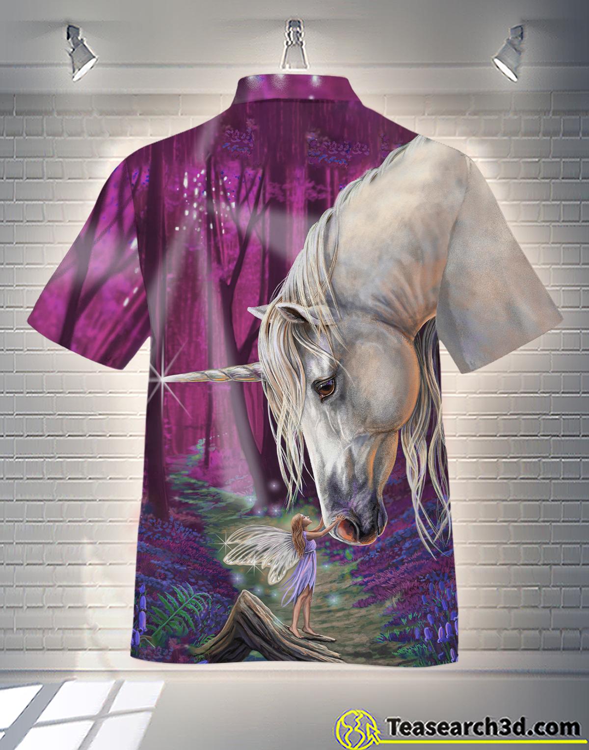 Unicorn With Girl Love Unicorn Hawaiian Shirt 1