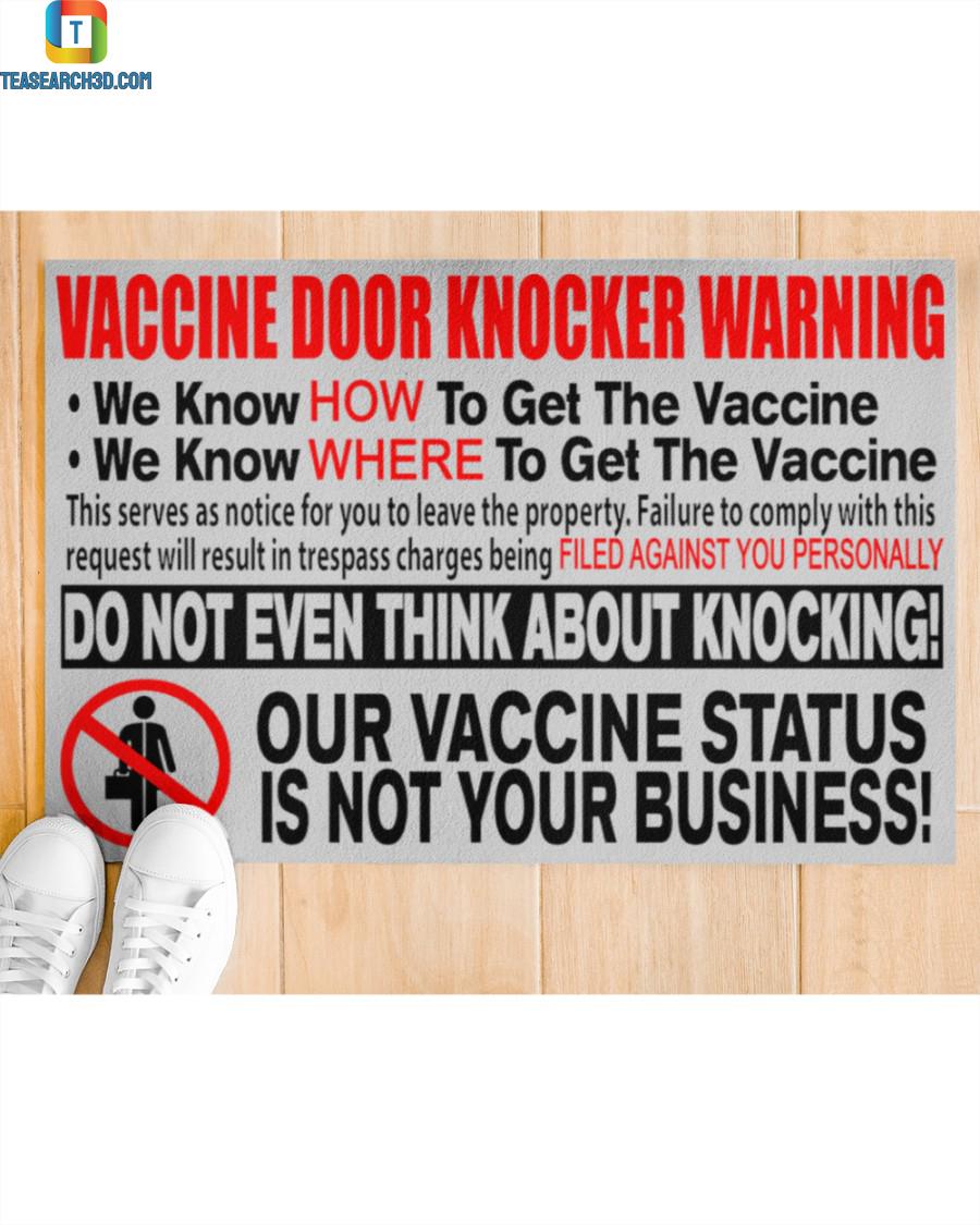 Vaccine door knocker warning we know how to get the vaccine doormat 2