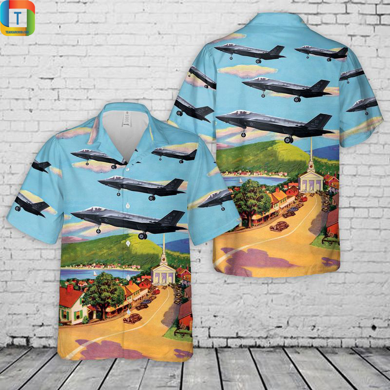 Vermont Air National Guard 134th Fighter Squadron Lockheed Martin F-35A Lightning Hawaiian Shirt