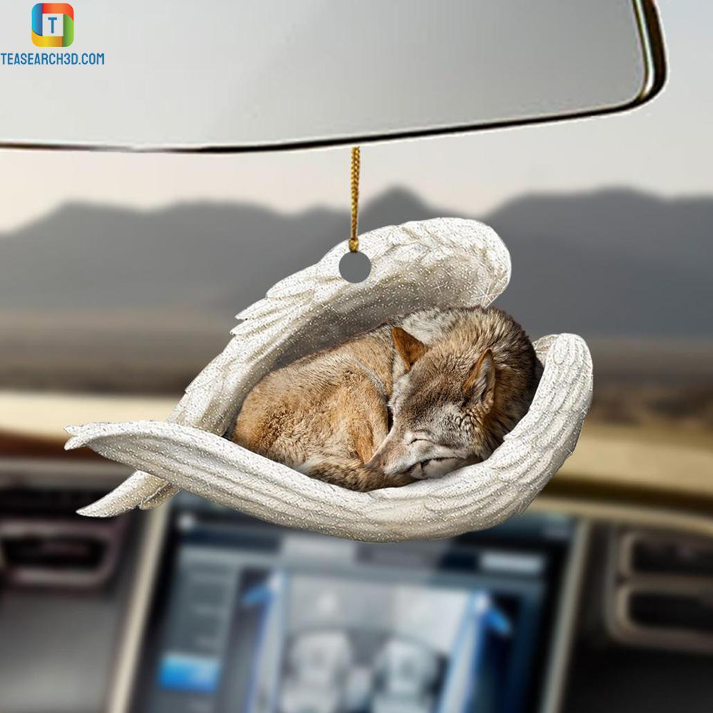 Wolf sleeping angel car hanging ornament