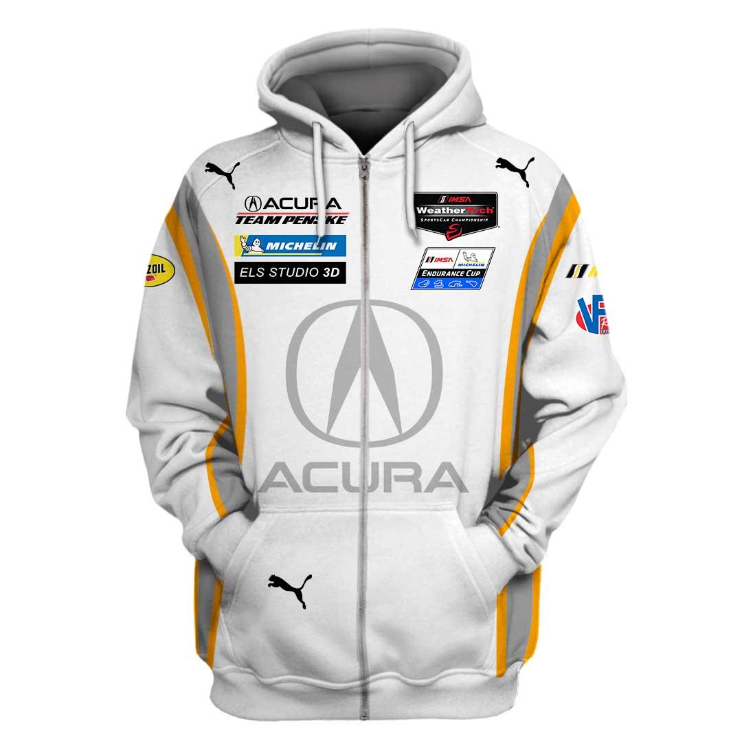 Acura Racing 3D Full Printing Zip Hoodie