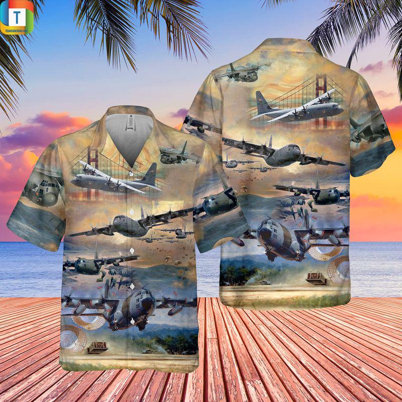 Air Force Lockheed C-130 Hercules Pocket Hawaiian Shirt