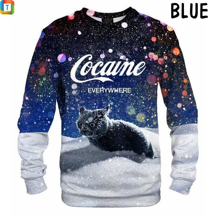 Cat snow cocaine everywhere sweatshirt blue