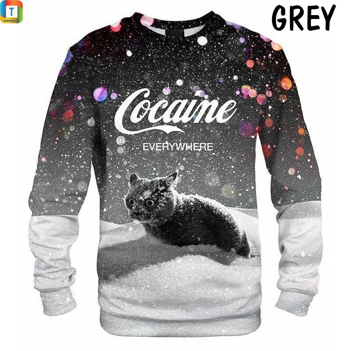 Cat snow cocaine everywhere sweatshirt grey