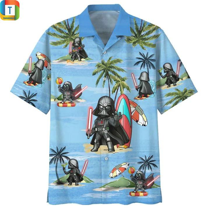 Darth vader star wars summer time hawaiian shirt