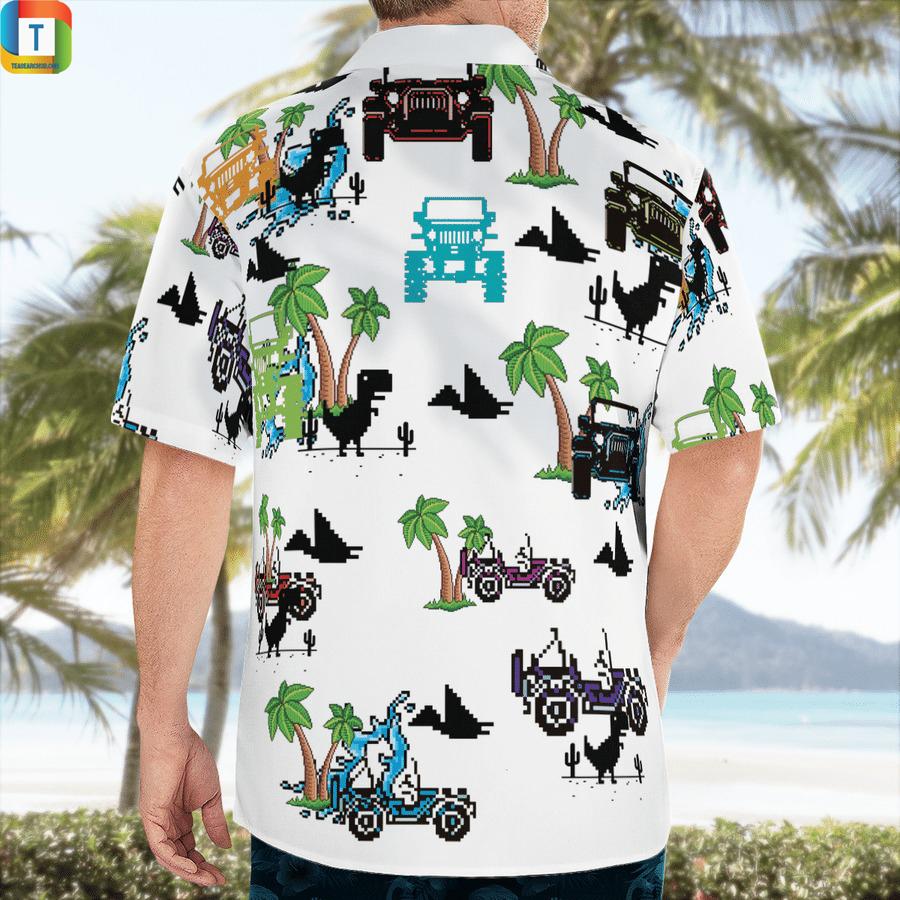 Dinosaurs and jeep in the beach hawaiian shirt 2