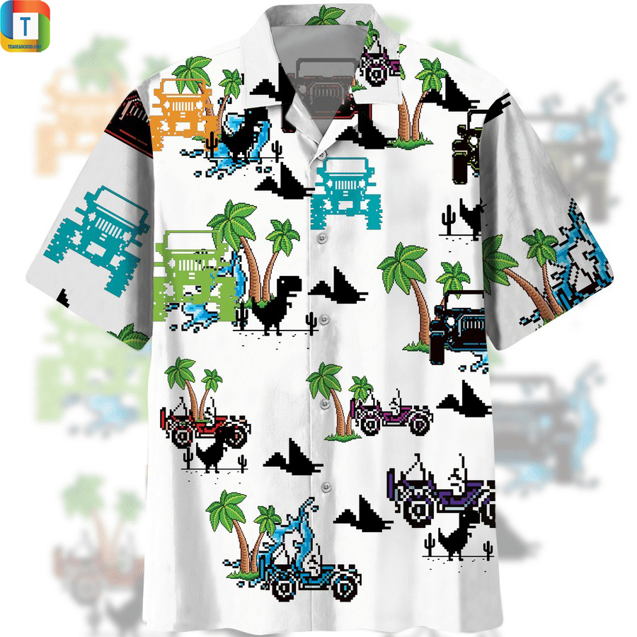 Dinosaurs and jeep in the beach hawaiian shirt
