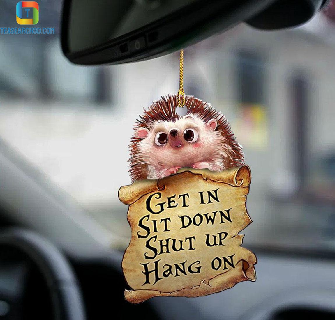 Hedgehog get in sit down shut up hang on car hanging ornament