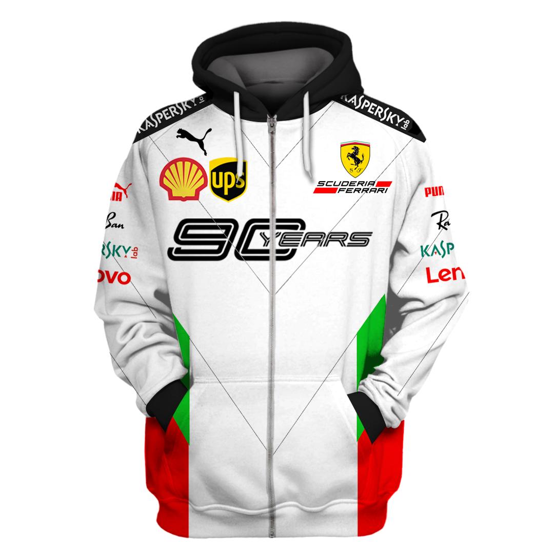 Ferrari 90 Years Racing 3D Full Printing Zip Hoodie