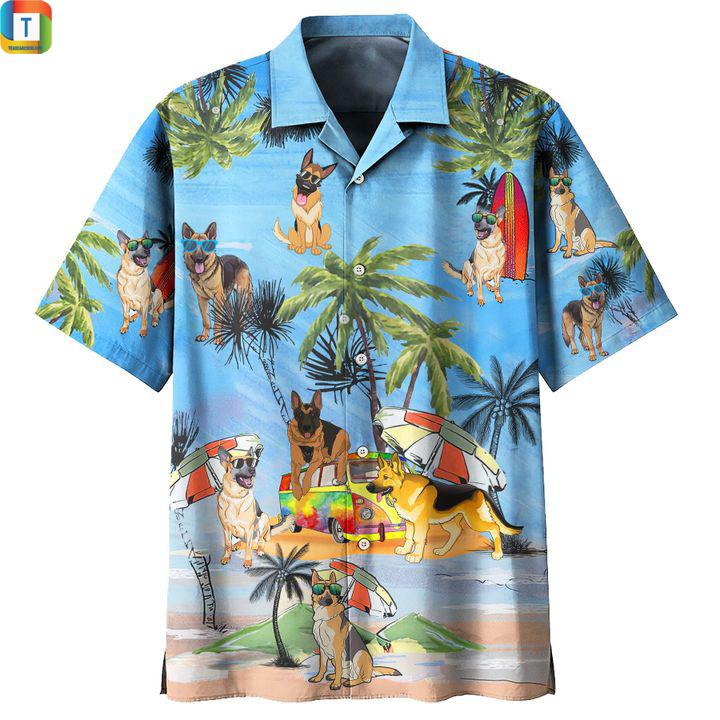 German shepherd dog summer beach hawaiian shirt 1