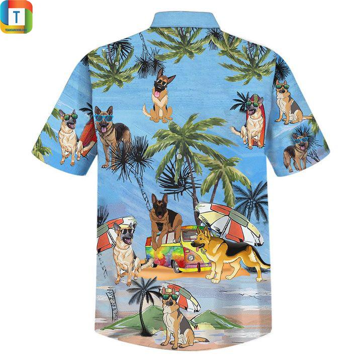 German shepherd dog summer beach hawaiian shirt 2