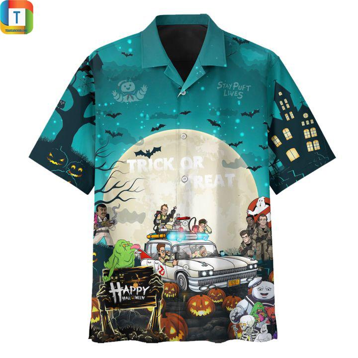 Ghostbusters halloween trick or treat hawaiian shirt 1